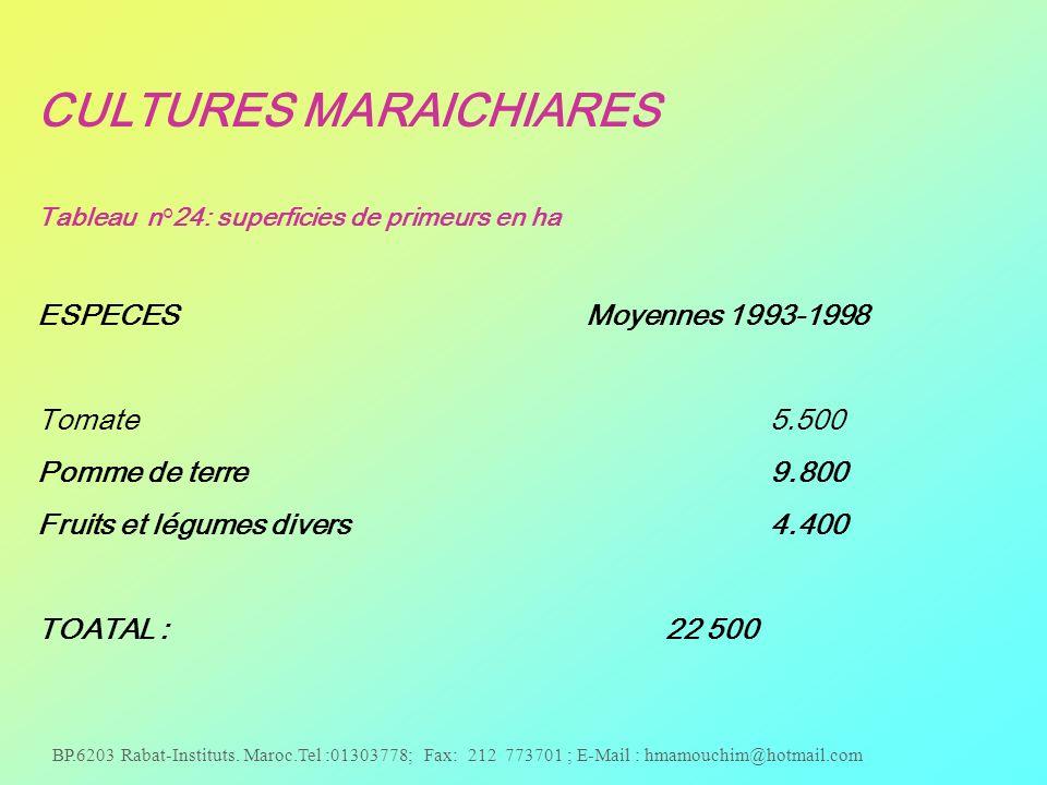 BP.6203 Rabat-Instituts. Maroc.Tel :01303778; Fax: 212 773701 ; E-Mail : hmamouchim@hotmail.com CULTURES MARAICHIARES Tableau n°24: superficies de pri