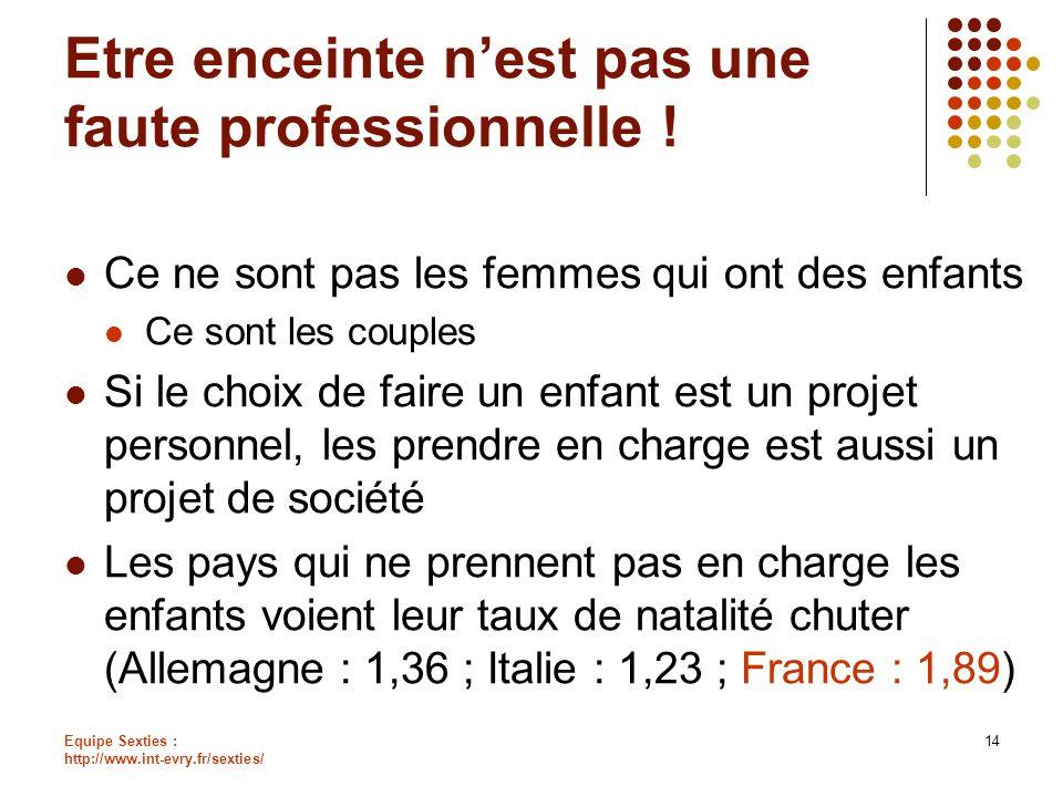 Equipe Sexties : http://www.int-evry.fr/sexties/ 14 Etre enceinte nest pas une faute professionnelle ! Ce ne sont pas les femmes qui ont des enfants C