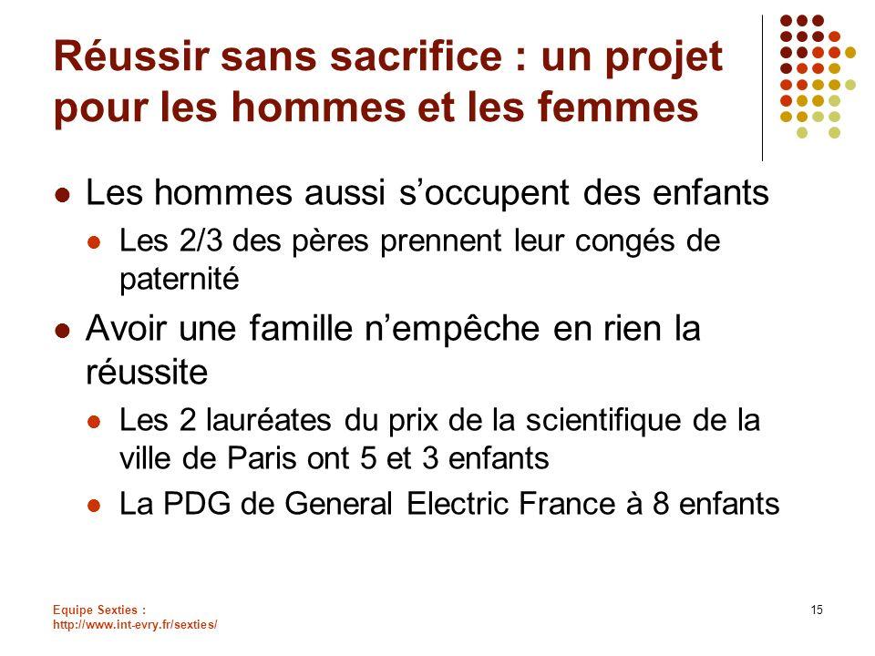 Equipe Sexties : http://www.int-evry.fr/sexties/ 15 Réussir sans sacrifice : un projet pour les hommes et les femmes Les hommes aussi soccupent des en