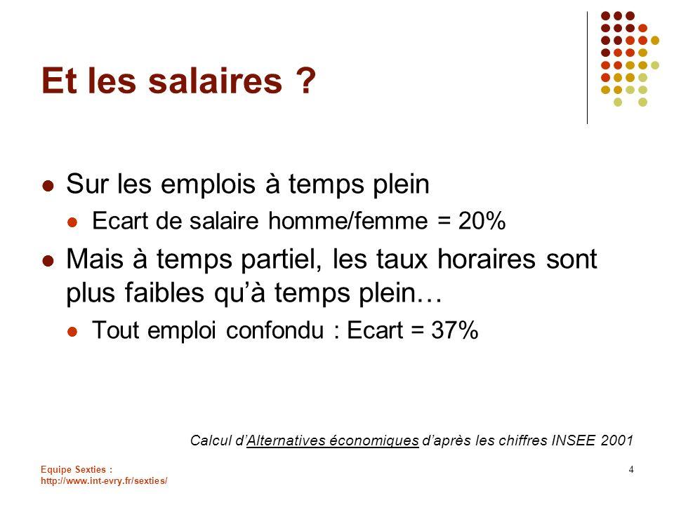 Equipe Sexties : http://www.int-evry.fr/sexties/ 4 Et les salaires ? Sur les emplois à temps plein Ecart de salaire homme/femme = 20% Mais à temps par