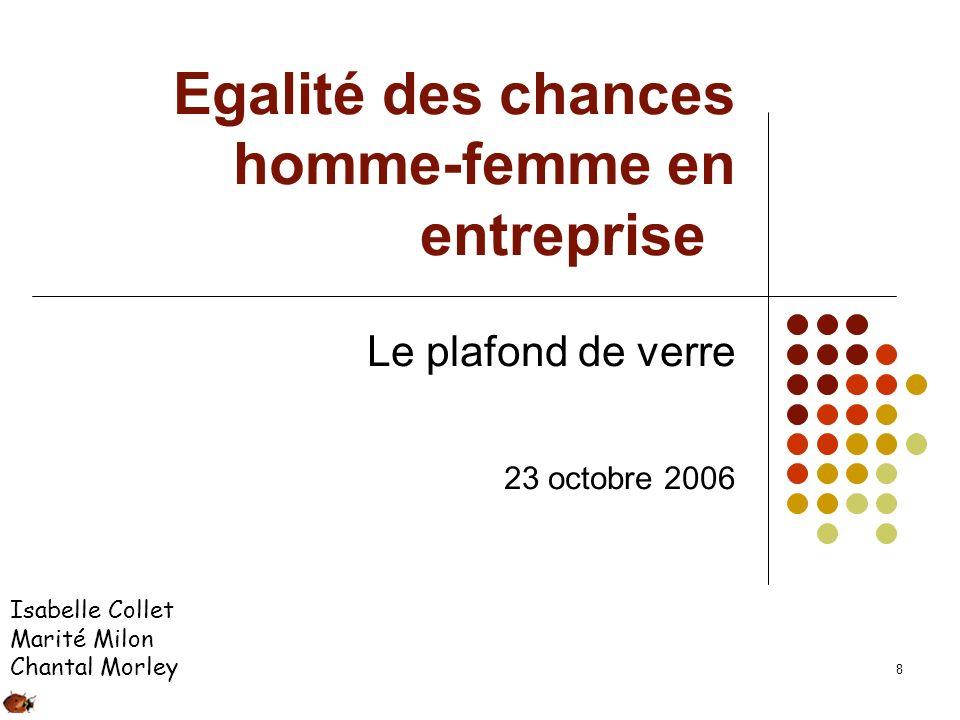 8 Egalité des chances homme-femme en entreprise Le plafond de verre 23 octobre 2006 Isabelle Collet Marité Milon Chantal Morley