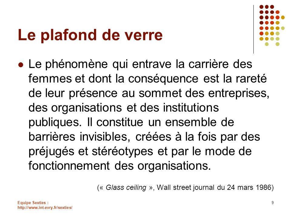 Equipe Sexties : http://www.int-evry.fr/sexties/ 9 Le plafond de verre Le phénomène qui entrave la carrière des femmes et dont la conséquence est la r