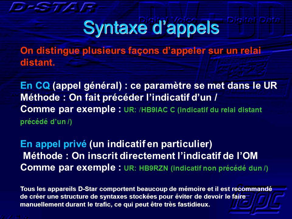 Syntaxe dappels On distingue plusieurs façons dappeler sur un relai distant. En CQ (appel général) : ce paramètre se met dans le UR Méthode : On fait