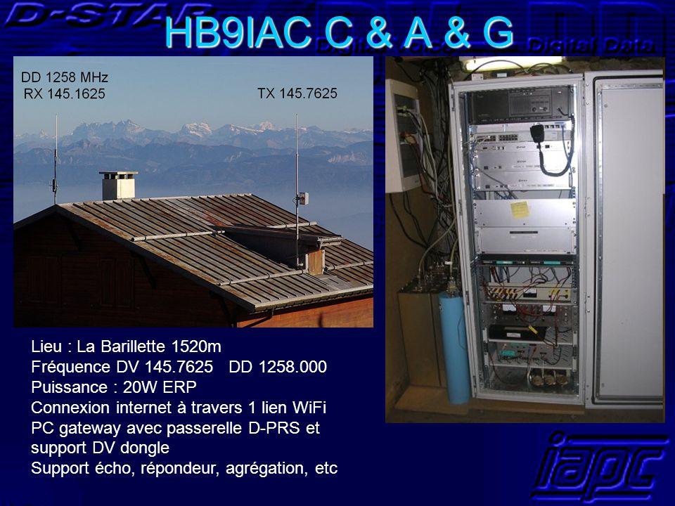 HB9IAC C & A & G Lieu : La Barillette 1520m Fréquence DV 145.7625 DD 1258.000 Puissance : 20W ERP Connexion internet à travers 1 lien WiFi PC gateway