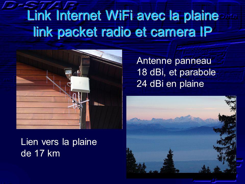 Link Internet WiFi avec la plaine link packet radio et camera IP Antenne panneau 18 dBi, et parabole 24 dBi en plaine Lien vers la plaine de 17 km