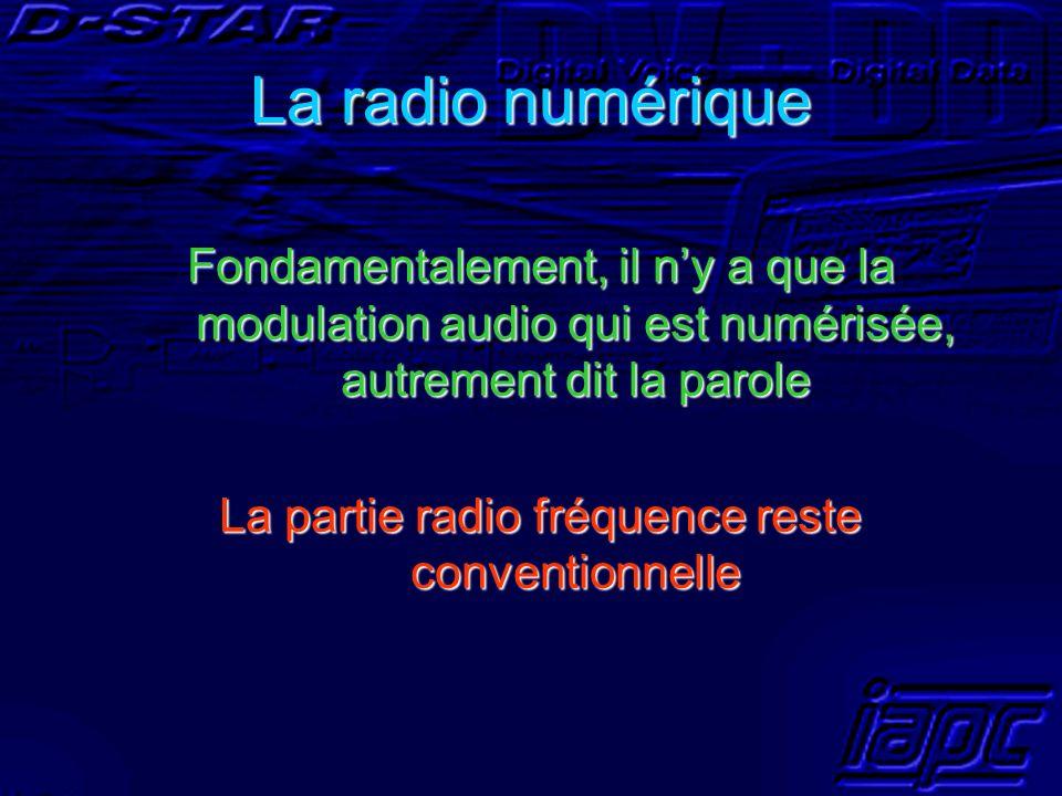 La radio numérique Fondamentalement, il ny a que la modulation audio qui est numérisée, autrement dit la parole La partie radio fréquence reste conven