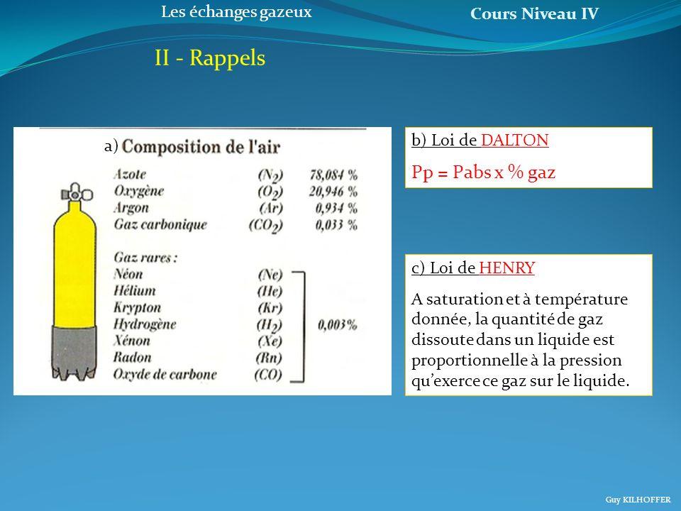 Cours Niveau IV Guy KILHOFFER Les échanges gazeux II - Rappels b) Loi de DALTON Pp = Pabs x % gaz c) Loi de HENRY A saturation et à température donnée