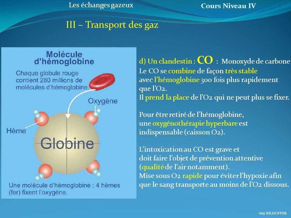 Cours Niveau IV Guy KILHOFFER Les échanges gazeux III – Transport des gaz d) Un clandestin : CO : Monoxyde de carbone Le CO se combine de façon très s