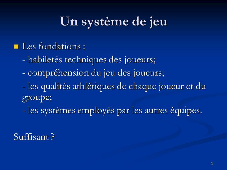 3 Un système de jeu Les fondations : Les fondations : - habiletés techniques des joueurs; - compréhension du jeu des joueurs; - les qualités athlétiqu