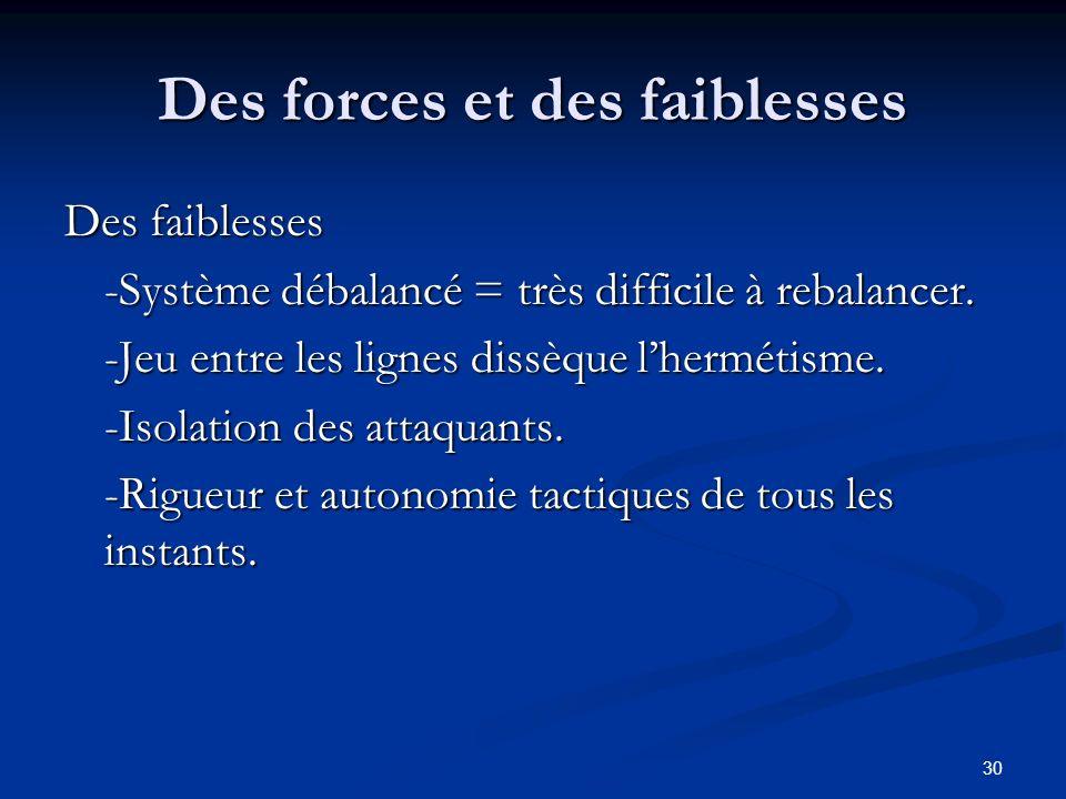 30 Des forces et des faiblesses Des faiblesses -Système débalancé = très difficile à rebalancer. -Jeu entre les lignes dissèque lhermétisme. -Isolatio