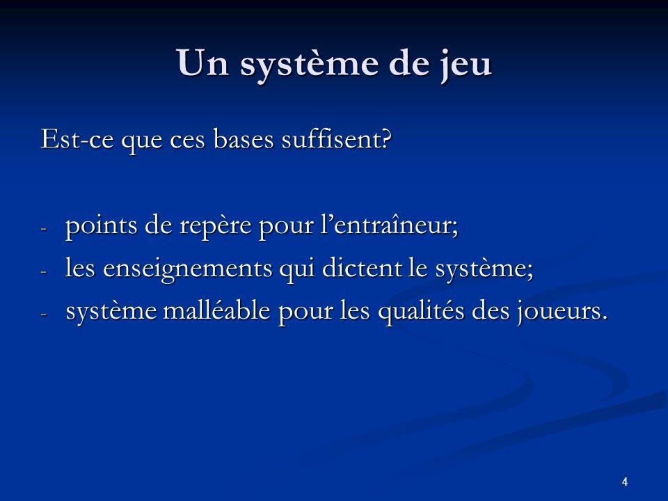 4 Un système de jeu Est-ce que ces bases suffisent? - points de repère pour lentraîneur; - les enseignements qui dictent le système; - système malléab