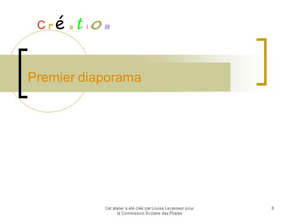Cet atelier a été créé par Louise Levasseur pour la Commission Scolaire des Phares 8 Premier diaporama C r é a t i o oo o n nn n