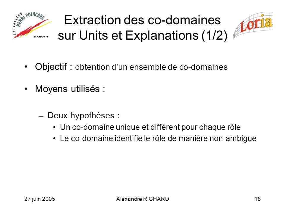 27 juin 2005Alexandre RICHARD18 Extraction des co-domaines sur Units et Explanations (1/2) Objectif : obtention dun ensemble de co-domaines Moyens utilisés : –Deux hypothèses : Un co-domaine unique et différent pour chaque rôle Le co-domaine identifie le rôle de manière non-ambiguë