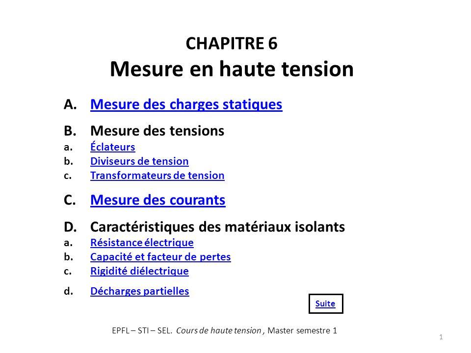 CHAPITRE 6 Mesure en haute tension 1 A.Mesure des charges statiquesMesure des charges statiques B.Mesure des tensions a.ÉclateursÉclateurs b.Diviseurs