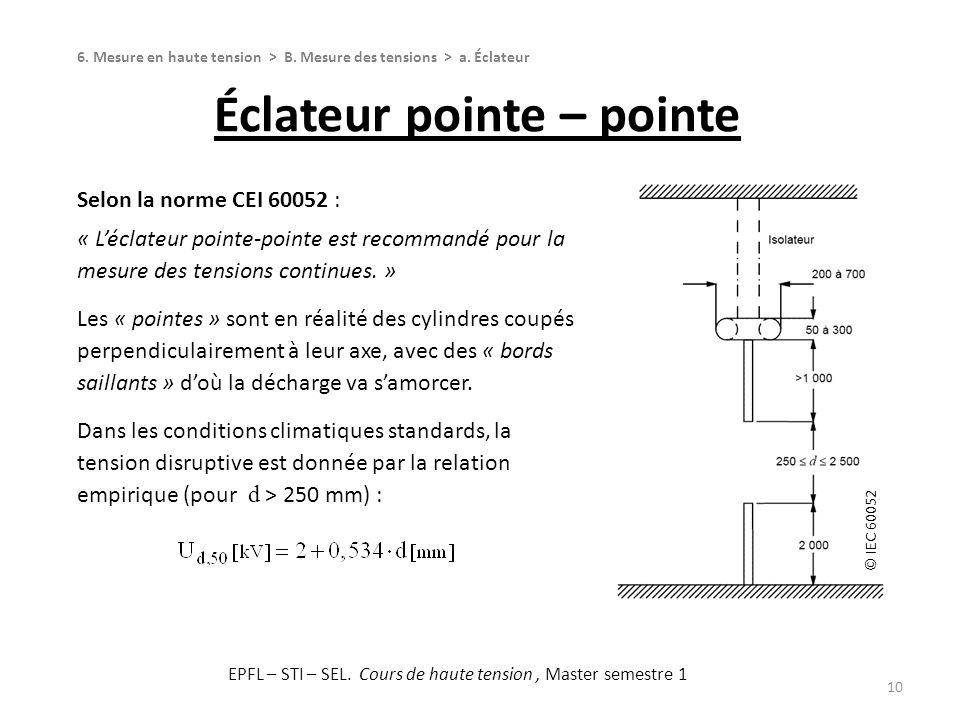 © IEC 60052 Éclateur pointe – pointe 10 6. Mesure en haute tension > B. Mesure des tensions > a. Éclateur Selon la norme CEI 60052 : « Léclateur point