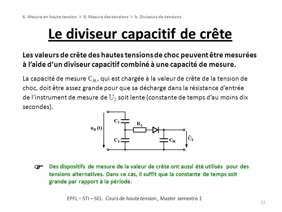 Le diviseur capacitif de crête 13 Les valeurs de crête des hautes tensions de choc peuvent être mesurées à laide dun diviseur capacitif combiné à une