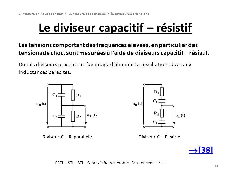 Le diviseur capacitif – résistif 14 Les tensions comportant des fréquences élevées, en particulier des tensions de choc, sont mesurées à laide de divi