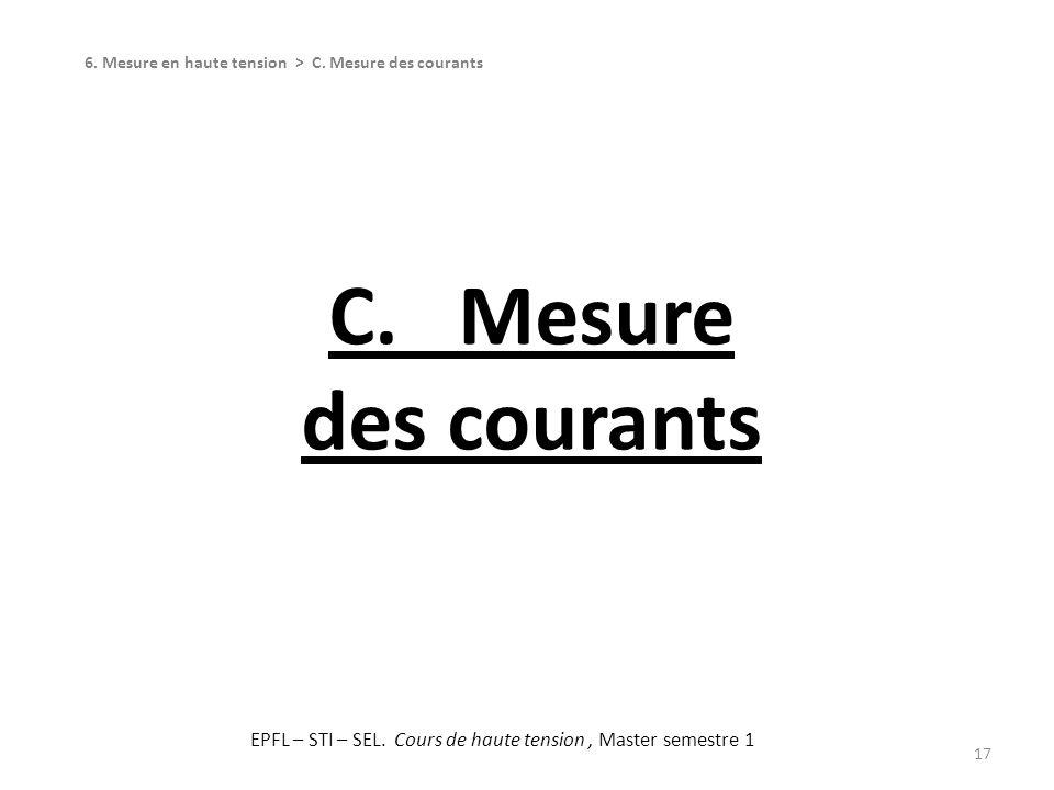 C. Mesure des courants 17 6. Mesure en haute tension > C. Mesure des courants EPFL – STI – SEL. Cours de haute tension, Master semestre 1