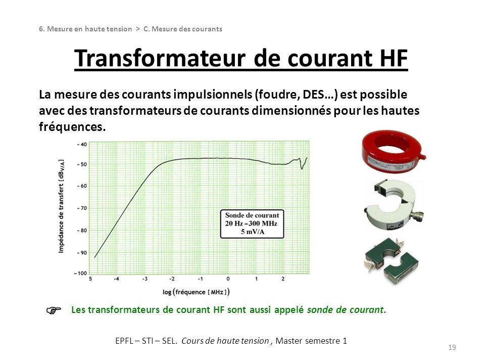 Transformateur de courant HF 19 La mesure des courants impulsionnels (foudre, DES…) est possible avec des transformateurs de courants dimensionnés pou