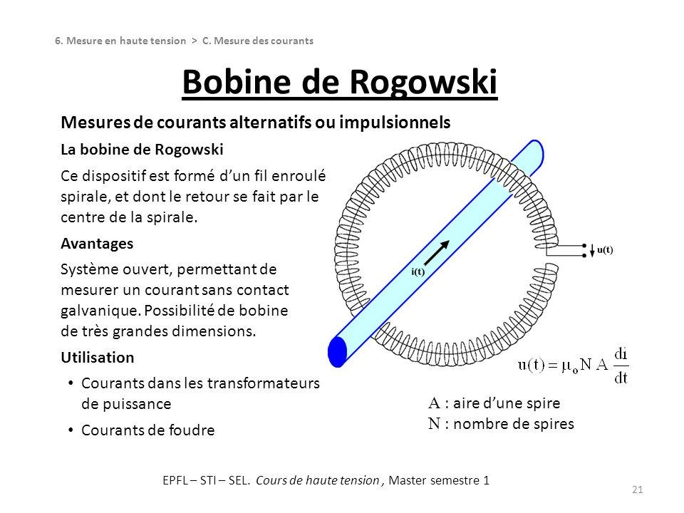 Bobine de Rogowski 21 Mesures de courants alternatifs ou impulsionnels La bobine de Rogowski Ce dispositif est formé dun fil enroulé en spirale, et do