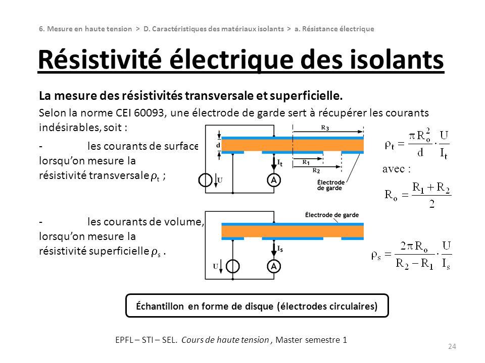 La mesure des résistivités transversale et superficielle. Selon la norme CEI 60093, une électrode de garde sert à récupérer les courants indésirables,