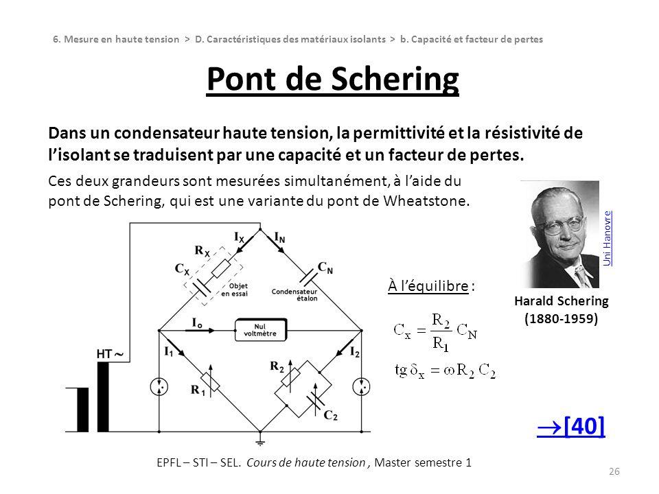 Pont de Schering 26 Dans un condensateur haute tension, la permittivité et la résistivité de lisolant se traduisent par une capacité et un facteur de