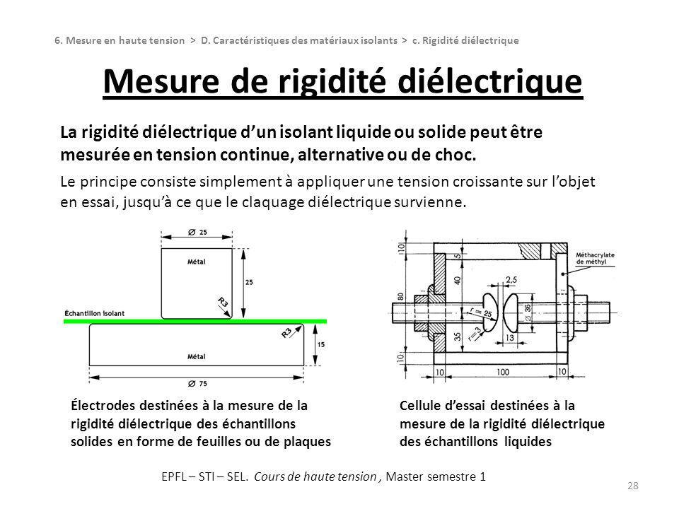 Mesure de rigidité diélectrique 28 La rigidité diélectrique dun isolant liquide ou solide peut être mesurée en tension continue, alternative ou de cho