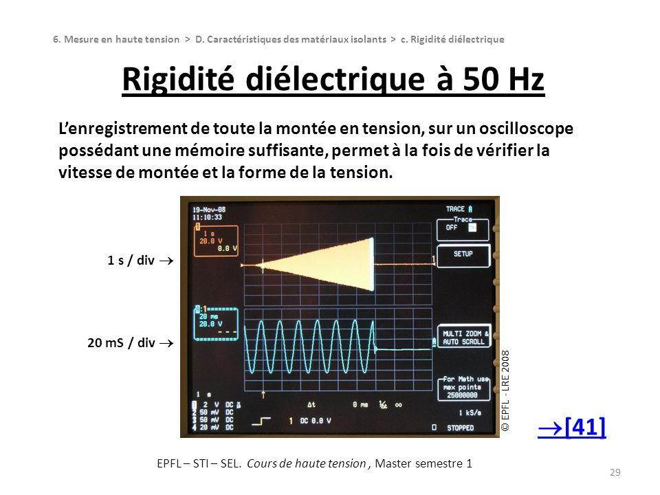 Rigidité diélectrique à 50 Hz 29 Lenregistrement de toute la montée en tension, sur un oscilloscope possédant une mémoire suffisante, permet à la fois