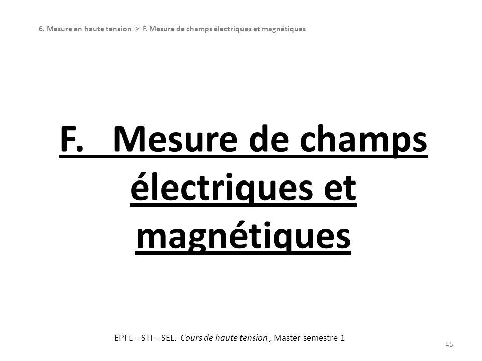 F. Mesure de champs électriques et magnétiques 45 6. Mesure en haute tension > F. Mesure de champs électriques et magnétiques EPFL – STI – SEL. Cours