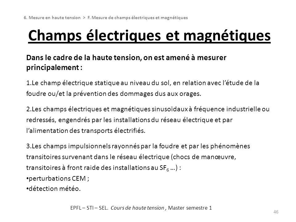 Champs électriques et magnétiques 46 Dans le cadre de la haute tension, on est amené à mesurer principalement : 1.Le champ électrique statique au nive