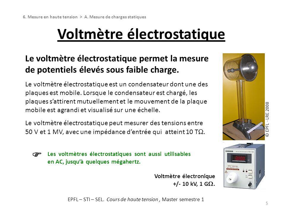 Voltmètre électrostatique 5 Le voltmètre électrostatique permet la mesure de potentiels élevés sous faible charge. Le voltmètre électrostatique est un