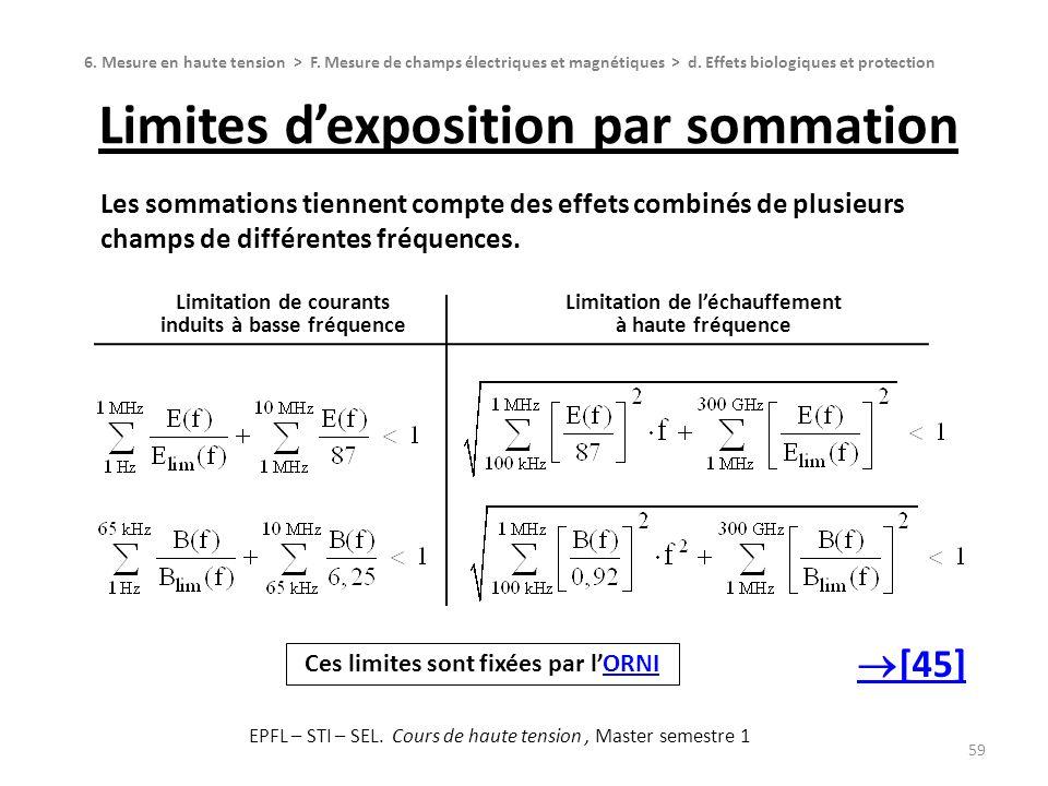 Limites dexposition par sommation 59 6. Mesure en haute tension > F. Mesure de champs électriques et magnétiques > d. Effets biologiques et protection