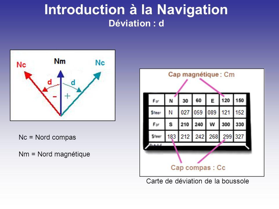 Deux formules à retenir : Introduction à la Navigation Route à suivre Dm = Rv – Rm d = Rm - Rc Exercice : (Rv mesuré sur la carte VFR, Dm lu sur la carte disogones, d lu sur la carte de déviation de ma boussole) 1.