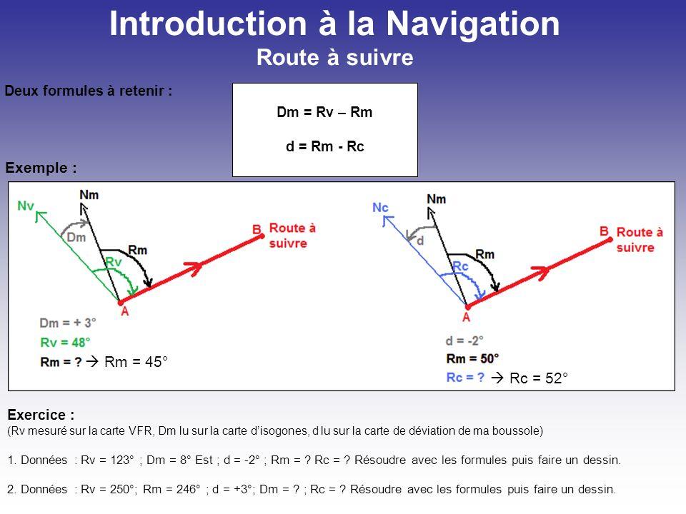 Introduction à la Navigation Déterminer le cap compas : Cc Sans vent Cc = 45 – (-3) – (-2) = 50°