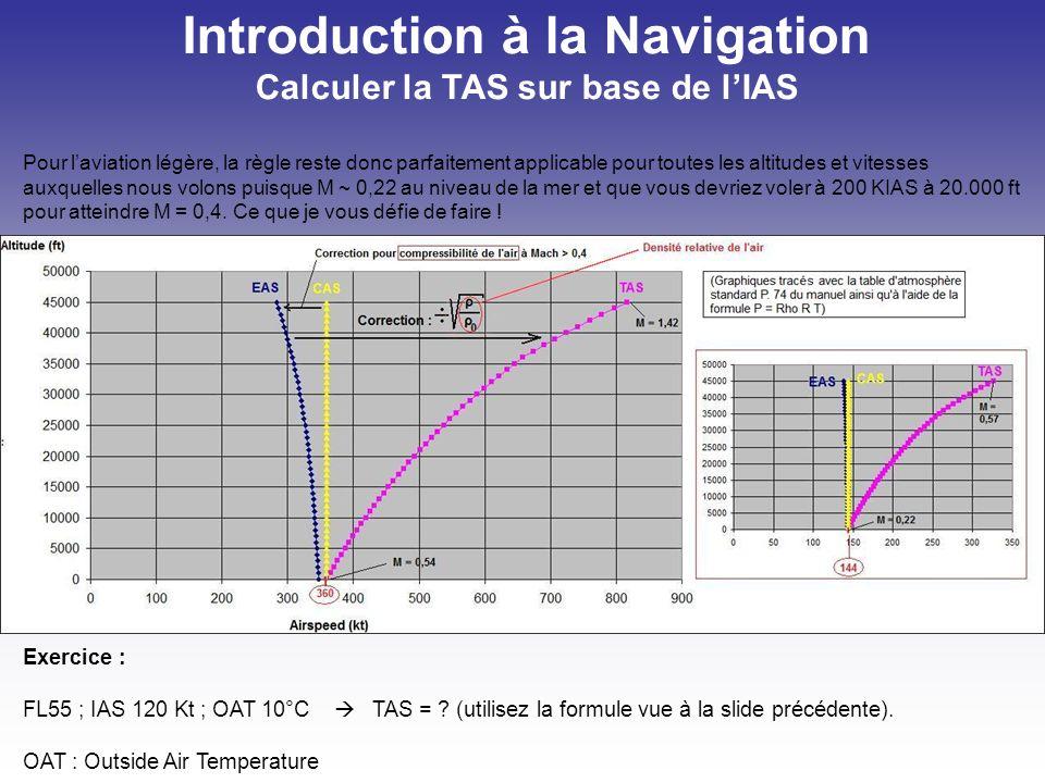 Introduction à la Navigation Vitesse sol : Ground speed (GS) Vitesse conventionnelle (Vc) = CAS Vitesse indiquée (Vi) = IAS Vitesse propre (Vp) = composante horizontale de la TAS ~ TAS Vitesse sol (GS) = TAS + / - Wind Component ( - if HWC, + if TWC).