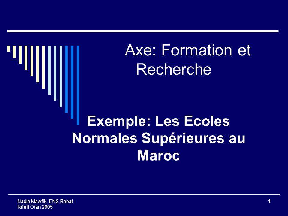 Nadia Mawfik ENS Rabat Rifeff Oran 2005 1 Axe: Formation et Recherche Exemple: Les Ecoles Normales Supérieures au Maroc