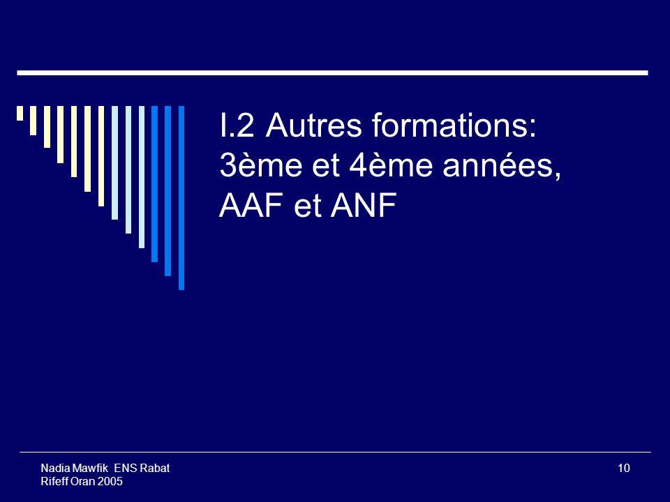 Nadia Mawfik ENS Rabat Rifeff Oran 2005 10 I.2 Autres formations: 3ème et 4ème années, AAF et ANF