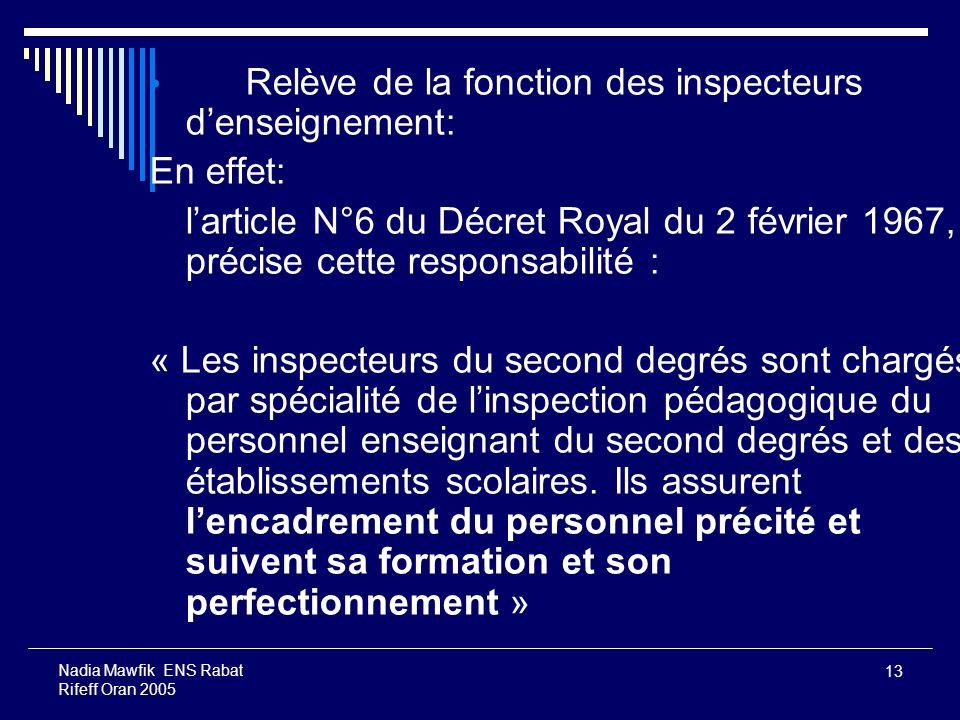 13 Nadia Mawfik ENS Rabat Rifeff Oran 2005 Relève de la fonction des inspecteurs denseignement: En effet: larticle N°6 du Décret Royal du 2 février 19