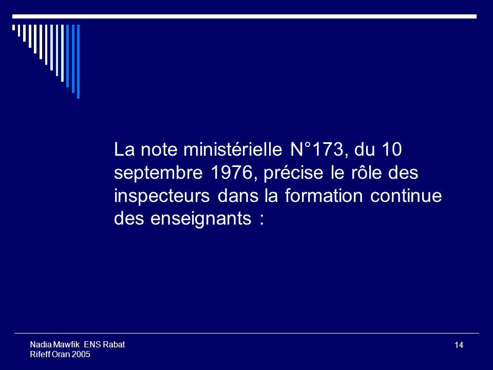 14 Nadia Mawfik ENS Rabat Rifeff Oran 2005 La note ministérielle N°173, du 10 septembre 1976, précise le rôle des inspecteurs dans la formation contin