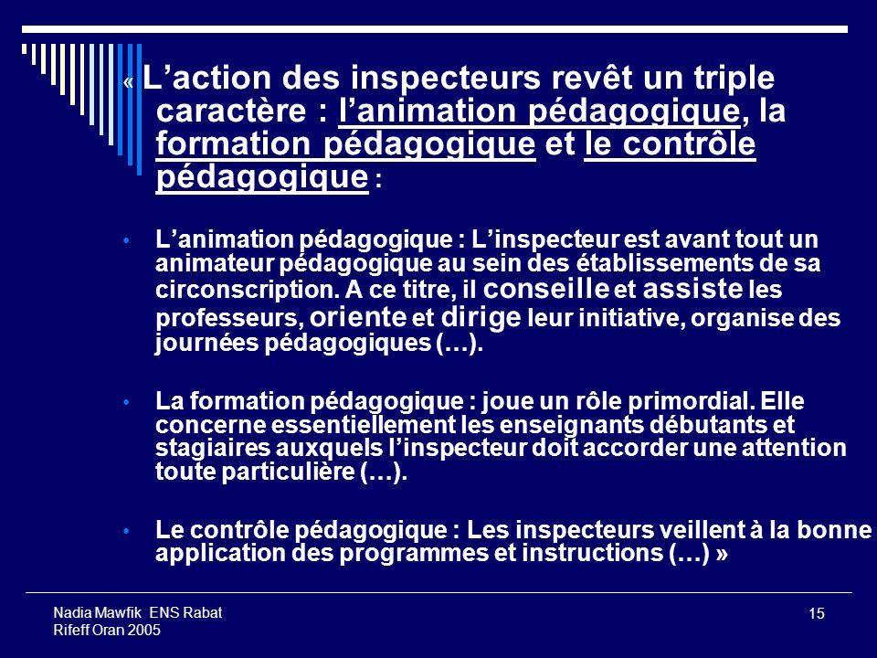 15 Nadia Mawfik ENS Rabat Rifeff Oran 2005 « Laction des inspecteurs revêt un triple caractère : lanimation pédagogique, la formation pédagogique et l