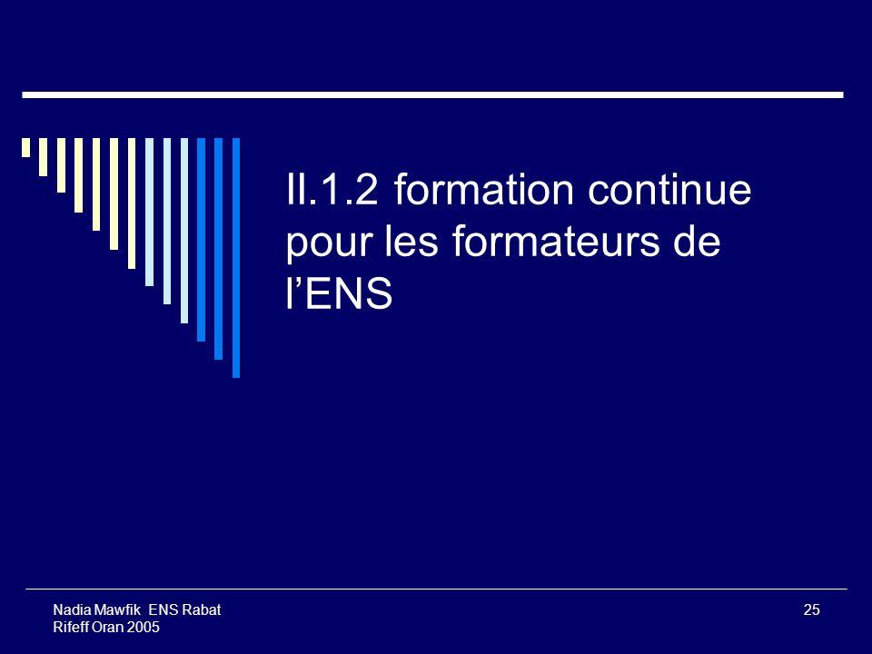 Nadia Mawfik ENS Rabat Rifeff Oran 2005 25 II.1.2 formation continue pour les formateurs de lENS