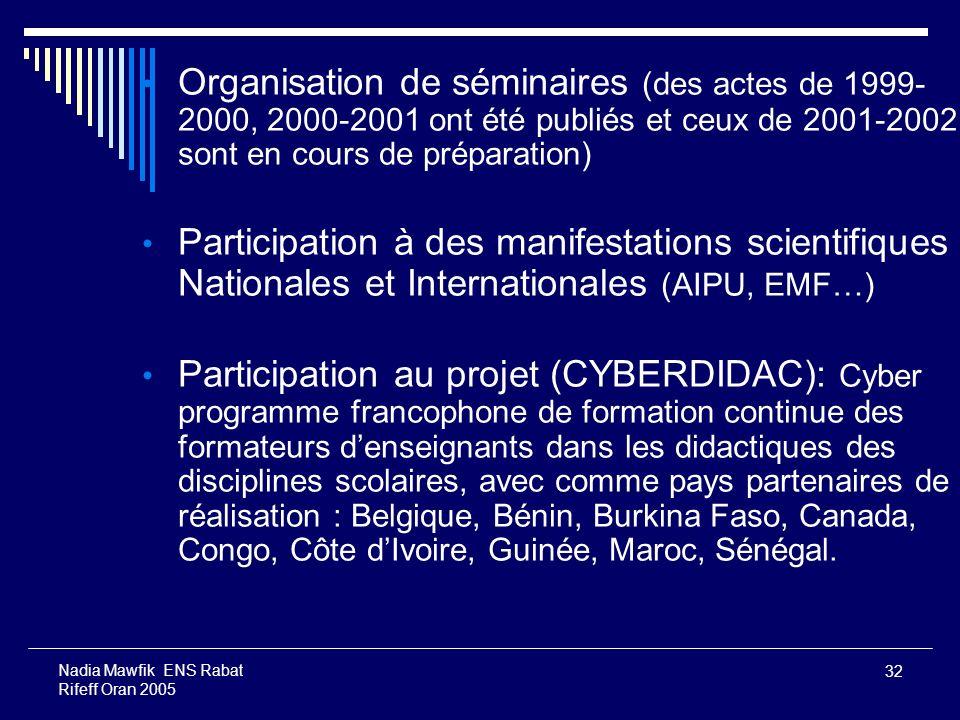 32 Nadia Mawfik ENS Rabat Rifeff Oran 2005 Organisation de séminaires (des actes de 1999- 2000, 2000-2001 ont été publiés et ceux de 2001-2002 sont en