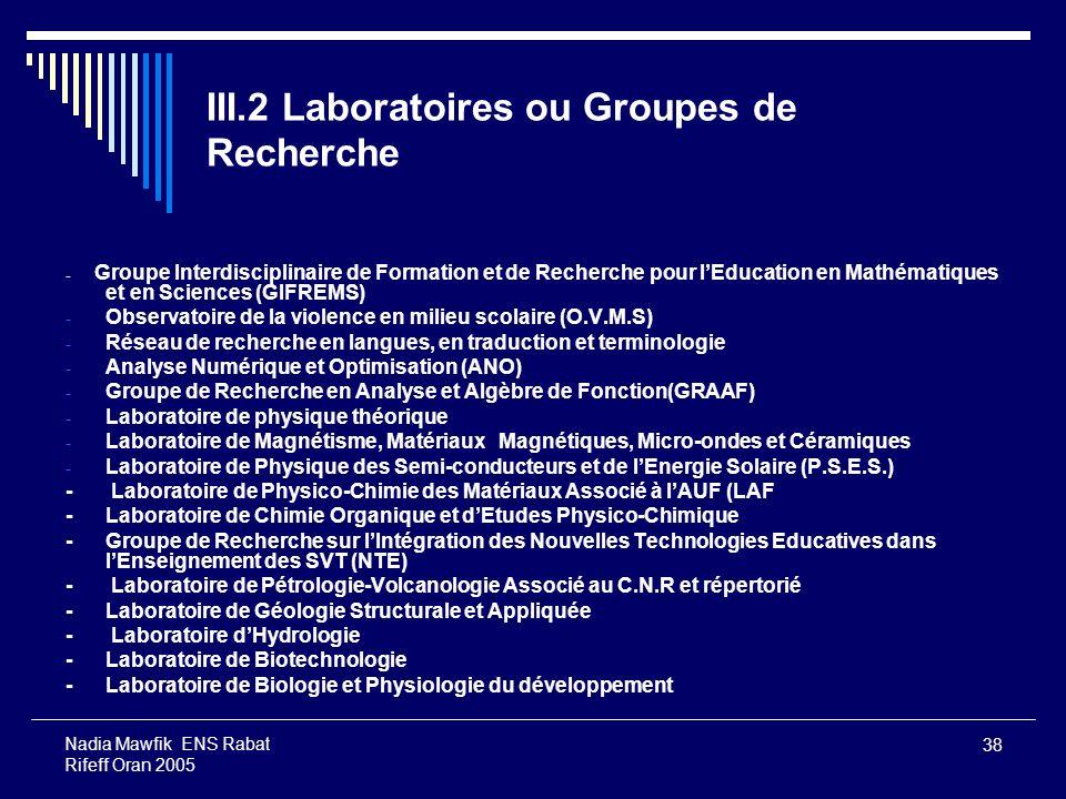 38 Nadia Mawfik ENS Rabat Rifeff Oran 2005 III.2 Laboratoires ou Groupes de Recherche - Groupe Interdisciplinaire de Formation et de Recherche pour lE