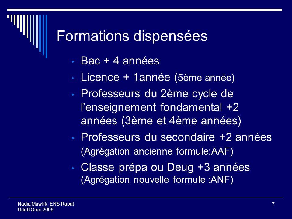 7 Nadia Mawfik ENS Rabat Rifeff Oran 2005 Formations dispensées Bac + 4 années Licence + 1année ( 5ème année) Professeurs du 2ème cycle de lenseigneme