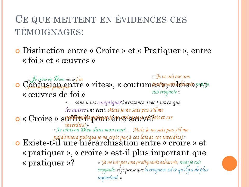 C E QUE METTENT EN ÉVIDENCES CES TÉMOIGNAGES : Distinction entre « Croire » et « Pratiquer », entre « foi » et « œuvres » Confusion entre « rites», «