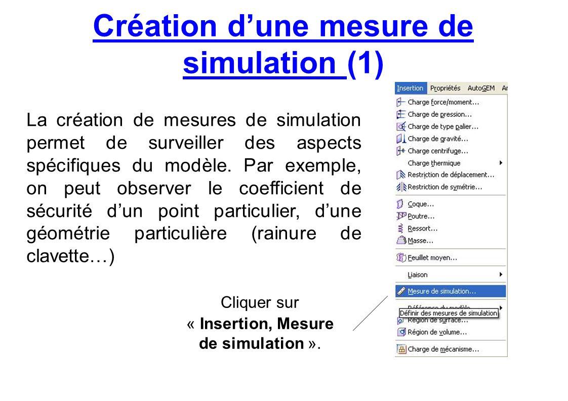 Création dune mesure de simulation (1) Cliquer sur « Insertion, Mesure de simulation ». La création de mesures de simulation permet de surveiller des