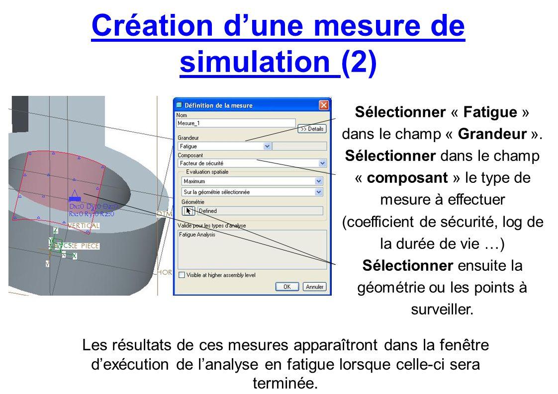 Création dune mesure de simulation (2) Sélectionner « Fatigue » dans le champ « Grandeur ». Sélectionner dans le champ « composant » le type de mesure