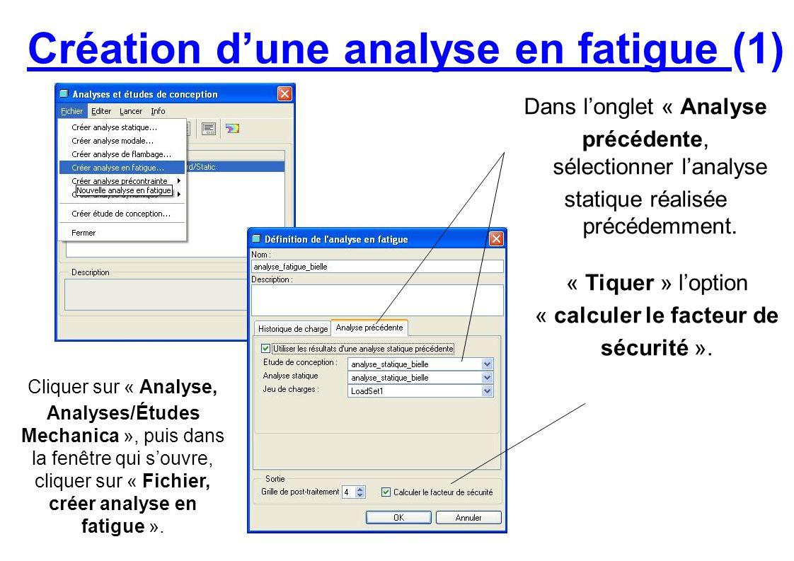 Création dune analyse en fatigue (1) Cliquer sur « Analyse, Analyses/Études Mechanica », puis dans la fenêtre qui souvre, cliquer sur « Fichier, créer