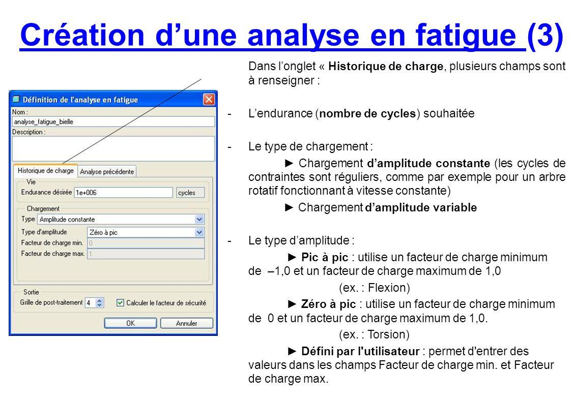 Création dune analyse en fatigue (3) Dans longlet « Historique de charge, plusieurs champs sont à renseigner : -Lendurance (nombre de cycles) souhaité