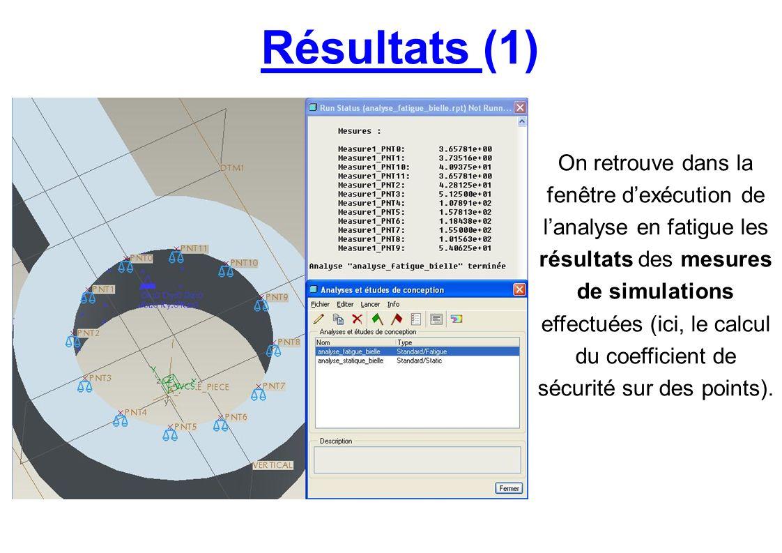 Résultats (1) On retrouve dans la fenêtre dexécution de lanalyse en fatigue les résultats des mesures de simulations effectuées (ici, le calcul du coe